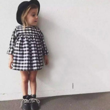 2017 girl in spring lattice long sleeve dress girl child princess dress black and white checkered clothing girl baby clothes(China)