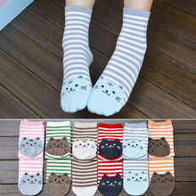Buy 1 Pair Newly Design Cute Cartoon Cat Socks Striped Pattern Women Cotton Socks Female Winter Autumn Warm Footprints Socks Floor for $1.35 in AliExpress store