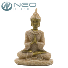 "NEO 8cm(3.1"") Height Mini Thailand Buddha Statue Fengshui Sculpture Natural Sandstone Resin Figurine Home Desk Decor Gift"