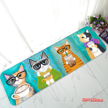 Large 50x160cm/50x120cm Cute Meow Meow Kitty Flannel Floor Mat Rugs Door Hallway Kitchen Carpet Room Decoration