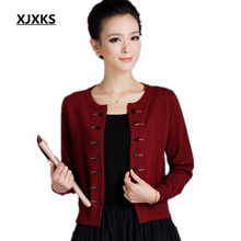 XJXKS new 2017 Women's cashmere cardigan o-neck long-sleeve sweater double breasted cashmere sweater outerwear women cardigan(China)