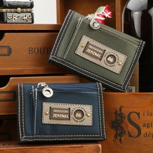 new Velcro Casual short folding canvas wallet fashion men wallet coin Purse brand men purse credit Card Holder 5 color