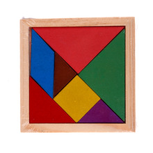 Colorful Educational Toys For Children Developmental Wooden Toys Tangram Brain Teaser Jigsaw Puzzle For Baby Kids Stuffed Toy(China)