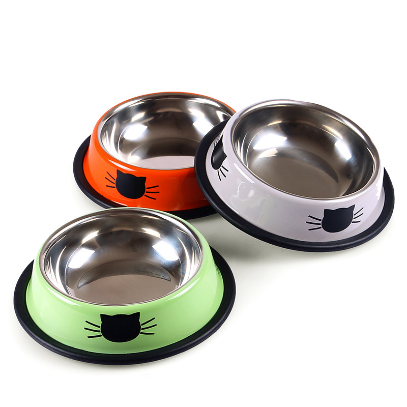Stainless Steel Pet Bowls Cat Printed Bowl With Non-Skid Rubber Bottom Puppy Cat Food Drink Water Dish(China (Mainland))