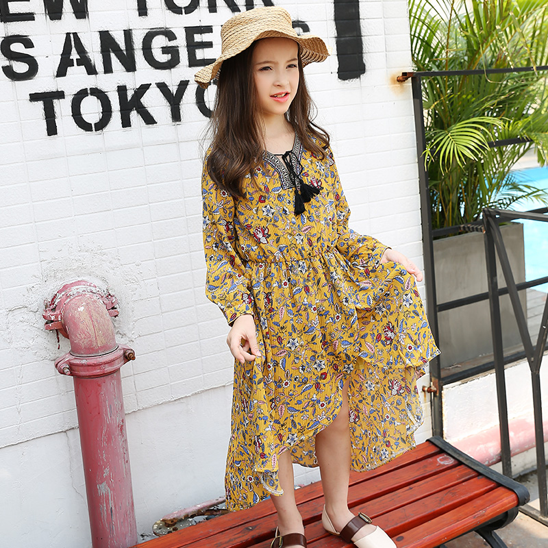 2017 Autumn Girls Bohemian Style Flores Print Tassel Collar Dress for Litte Ones Cute Baby Kids Age5678910 11 12 13 14 Years Old<br>