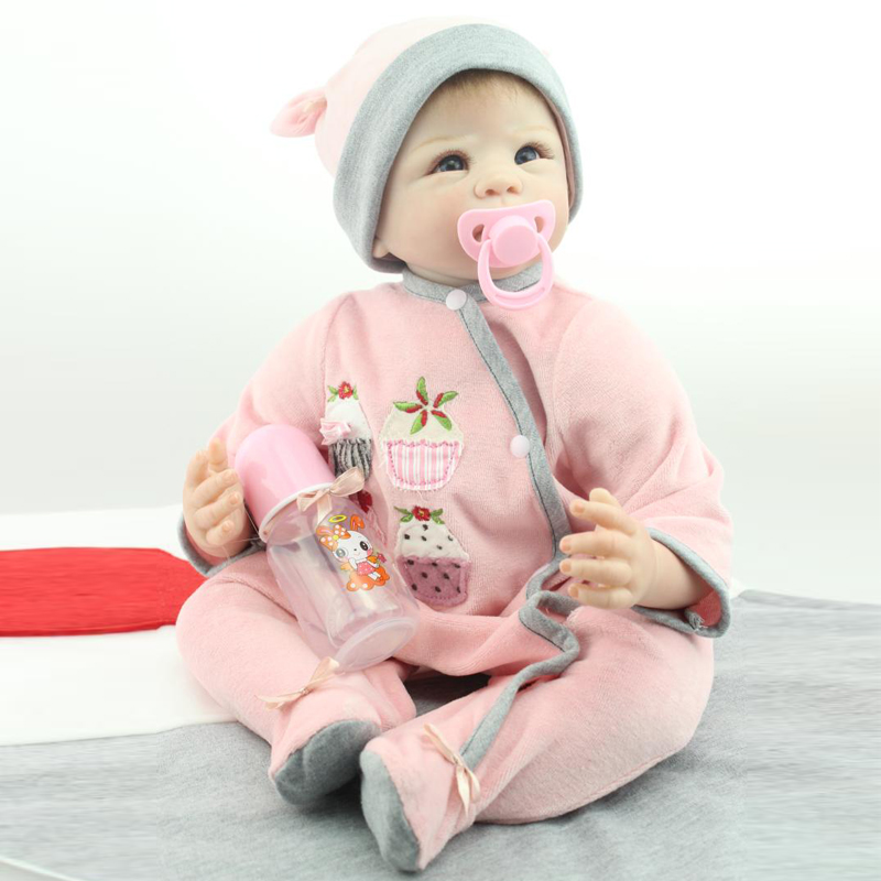 New 50-55cm Silicone Reborn Baby Doll Very Soft Cloth Body Pink Outfit Cute baby Best Gift for Little Girl Free Shipping DIY<br><br>Aliexpress