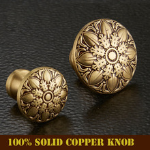High Quality 100% Solid Copper European Classic Bronze Drawer Cabinet Cupboard Door Knob Furniture Handle Single Hole