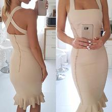 2017 New Fashion Mermaid Evening Party Dress Knee Length Halter Neck Sexy Women Bandage Zipper Dresses