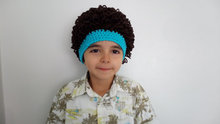 Baby boy Cabbage Patch wig,Cabbage patch costumeDark Brown and blue,cabbage patch hat,Halloween costume pageant Hair