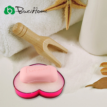Butihome Heart Shape Plastic Soap Dish Box Sponge Clear Color Suction Draining Holder Pratos Plate Bathroom Shower Soap Storage