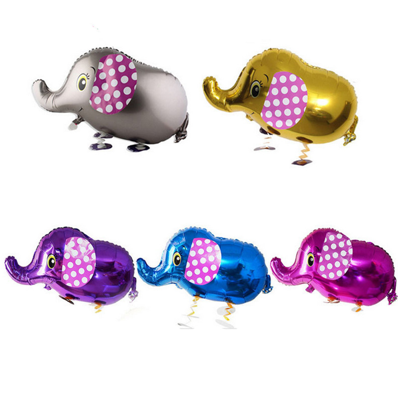 Cute Cartoon Animals Pet Walking Elephant Foil Aluminum Balloon Inflatable Air Balloons Birthday Party Decoration Gifts For Kids(China)