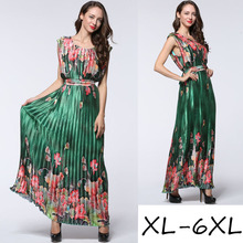 Europe and United States women's plus-size new summer sleeveless dress fashion printed pleated crushed Bohemian loose long dress(China)