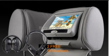 "2x7"" LED Digital Screen Headrest Car DVD Monitor Player with USB SD IR FM Game Joystick Pillow for Most Cars"