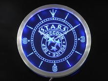 nc0198 Biohazard Stars RPD Resident Evil Neon Sign LED Wall Clock
