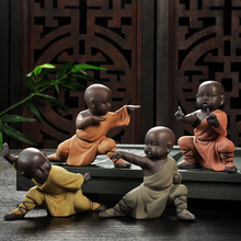 Tea Accessories Kung Fu Monk Ornaments Pottery Purple Clay  Tea Ceremony Pet Kong Fu Monk Model Table Decoration Ornament