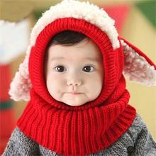 New Arrival Winter Warmer Hat Cap Wraps Scarf Puppy Pattern Kids Boys Girls One-pieces Knitted Wool Warm Christmas Gift MZ034(China)