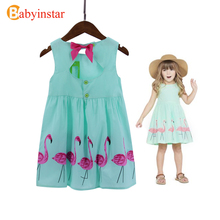 Babyinstar 2017 New Summer Girl's Dresses Girls Clothing Flamingo Pattern Girl's Outwear with Bow Good Quality
