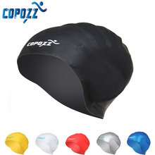 COPOZZ Silicone Waterproof Swimming Cap Swim for Long Hair Hat Cover Ear Bone Pool for Male Female(China)