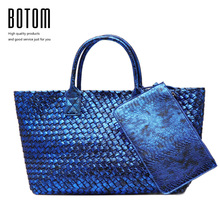 Botom Latest Fashion Snakeskin Woven Big Totes Bag Women Handbags High Quality Faux Leather Large Bag Ladies Shouder Bags Purse(China)