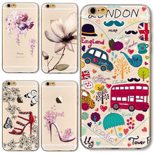 SE Soft TPU Cover For Apple iPhone SE Cases Phone Shell Painted London Romantic City Graceful Life Happy Beat Choice(China)