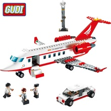 GUDI City Airport VIP Private Jet Plane Blocks 334pcs Bricks Building Block Sets Educational Toys For Children with 3 figures