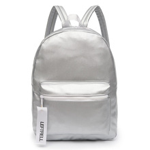 Women Silver Backpack Glossy Backpacks For Teenage Girls Holographic PU Leather Bag Pink Students School Rucksack QIGER(China)