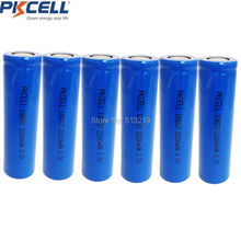 6 x PKCELL ICR18650 Lithium Battery 2200mAh 3.7V Li-ion Rechargeable Battery 18650 Batteria Flat Top No Protection Batteries