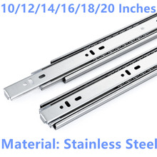 10/12/14/16/18/20 Inches Drawer slide rail keyboard slide rail stainless steel three section wardrobe ball slide rail(China)