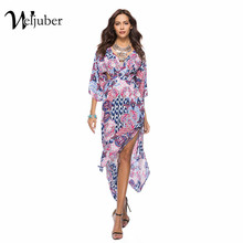 Buy Weljuber Women Bohemian Prints Dress 2018 Summer Deep V-neck Boho Maxi dress Sexy Backless Beach Loose Vintage Dresses for $14.98 in AliExpress store