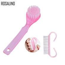 ROSALIND New 2pcs/lot Clean Brush Tool File Small Horn Plastic Nail Art Dust Clean Brush Manicure Pedicure Soft Nail Art Tools(China)