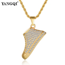 YANGQI Hiphop Iced Out Shoes Pendant Necklace Women Men Gold Color Full Rhinestone Shoes Necklace Charm Pendant Jewelry Gifts(China)