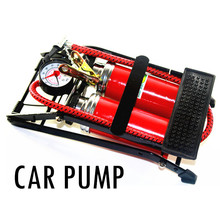 high quality Car TWO pump air compressor Car-styling Foot Air Pump 100PSI Car Vehicle Tires Bicycle Bike Motorbike Ball Inflator(China)