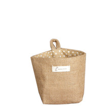 Hot Sale Polka Dot Small Storage Sack Cloth Hanging Non Woven Storage Basket Quality