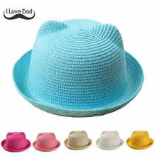 2017 New Baby Straw Hat Summer Kids Cat Ear Decoration Lovely Beach Cap Children Character Girls Boys Solid Sun Hat casquette(China)