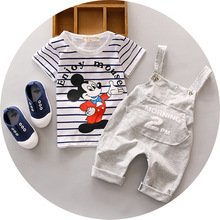 SS1 2017 New Summer Kids Mickey Mouse Clothing Sets Baby Boys Clothes Child Fashion cotton Suits Girls Sport Micky Stripped Set