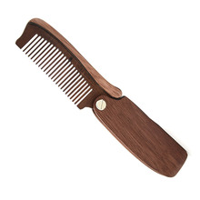 1 PC Wood Sandalwood Tooth Pocket Folding Comb Beard Mustache Brush Combs Promotion Price(China)