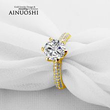 AINUOSHI Luxury 2 Carat Yellow Gold Ring 10k Solid Gold Women Micro Setting Wedding Ring Sona Diamond Band Engagement Ring Women
