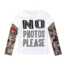 Children Clothing Boys Long Sleeve T Shirt Cool Tattoo Shoes Printed T-shirts Big Girls Summer Kids Tops Baby Brand Vestidos