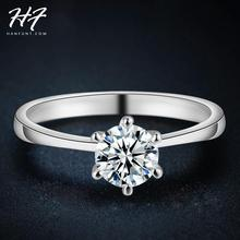 Sliver Color Classic Simple Design 6 Prong Sparkling Solitaire 1ct Zirconia  forever Wedding Ring bijoux R013
