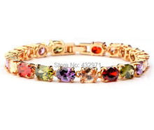 Free shipping!Fashion Gold Color Mona Lisa Multicolor AAA Cubic Zircon Gold Bracelet Bangles For Women Christmas Gift
