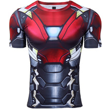 Iron man 3D Printed T shirts Men Compression Shirt 2017 New Spiderman Cosplay Short Sleeve Crossfit Tops For Male Fitness Cloth