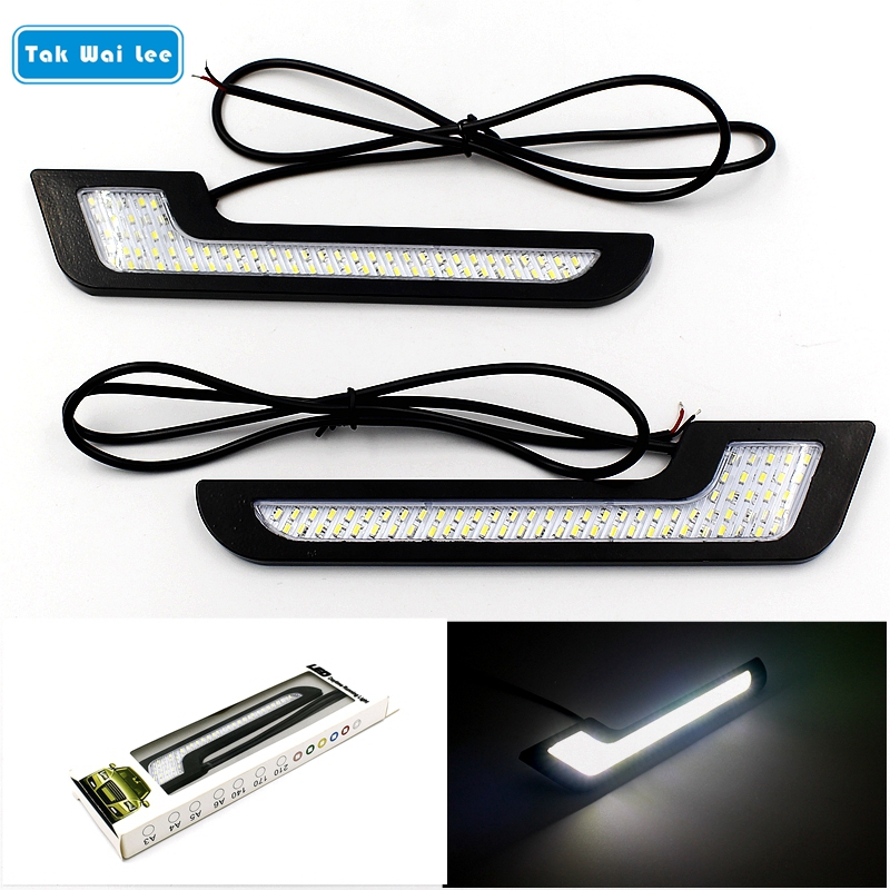Tak Wai Lee 2X LED DRL Daytime Running Lights Styling Super Bright External Car Auto Driving Front Fog Vehicle Lamp With Stick(China)