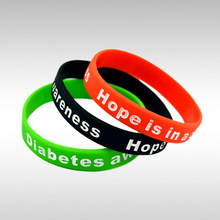 Diabetes Awareness wristband, Hope is in a cure Filled in colour silicon bracelet, 100pcs/lot, free shipping(China)