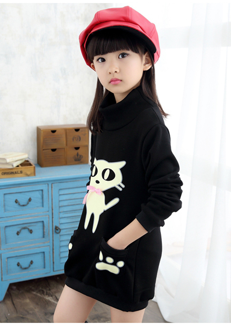 Girls in Winter All-Match Girls Sleeved Bottoming Shirt Sweater Coat Kitten Child Children Baby Girls Clothes