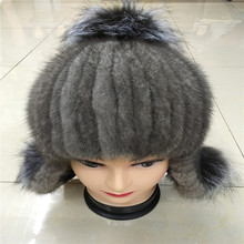 2016 new real women winter rex mink fur hat with a silver fox fur and rabbit knitting wool lined with 08D