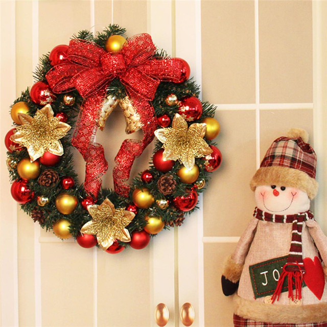 2018 New Merry Christmas Theme Wreath Door Decorations Snowman Ribbon Ornament Hot For Home