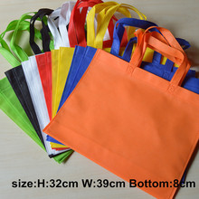 500pcs lots customized logo non woven bags with handle 7color be choose recycle custom reusable eco bag hand bag(China)