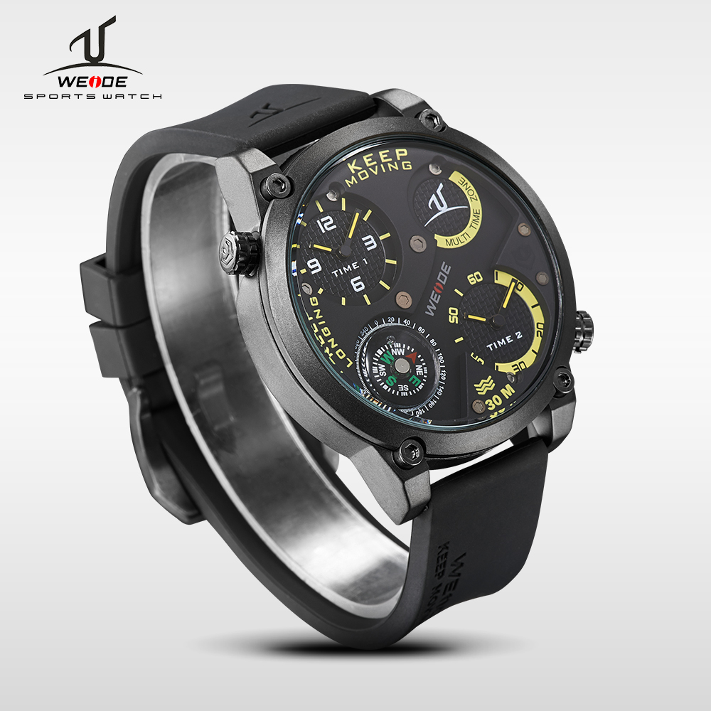 WEIDE Multiple Time Zone Brand Black Silicone Compass Waterproof Sport Watch Men analog Quartz Watch Relogios Masculinos clock<br>