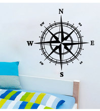 Home Decorations Compass Wall Decal Nautical home decor 60*60cm removable wall decor for home bedroom decoration stickers(China)