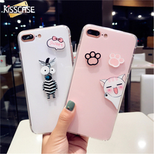 KISSCASE Cute Case For iPhone 6 6s 7 plus Case Cover Cat Pink Black Silicon Phone Case for iPhone 6 7 Transparent Fundas Coque(China)